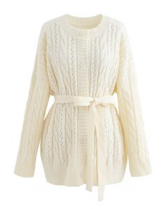 Braid Texture Buttoned Belted Cardigan in Cream