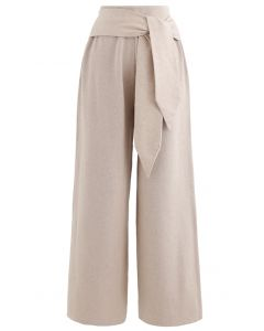 Self-Tie Waist Knit Wide-Leg Pants in Tan
