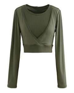 Fake Two-Piece Sleeves Cropped Sports Top in Olive