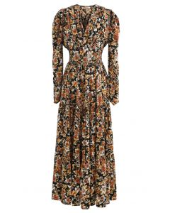 V-Neck Puff Shoulders Floral Maxi Dress in Black