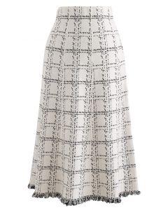 Grid Fringe Hem Knit Skirt in Ivory