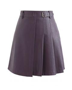 Belt Detail Faux Leather Pleated Mini Skirt in Purple