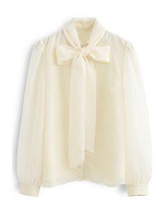 Sheer Bowknot Button Down Shirt in Cream