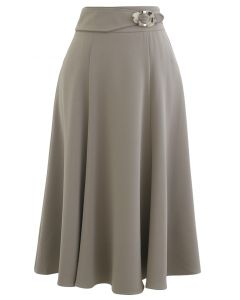 Marble Buckle Belted Flare Midi Skirt in Taupe