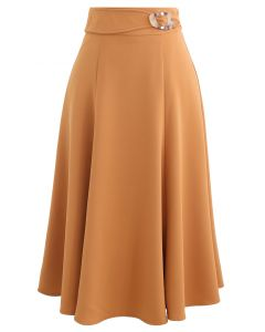 Marble Buckle Belted Flare Midi Skirt in Orange