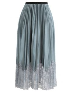 Pleated Sheen Flower Lace Hem Midi Skirt in Turquoise