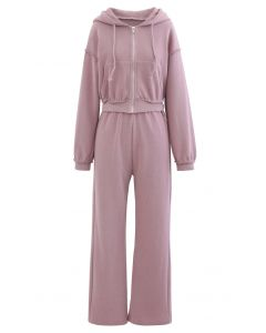 Crop Rib Zipper Hoodie and Straight Leg Pants Set in Lilac
