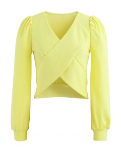 Crisscross Long Sleeves Crop Top in Yellow