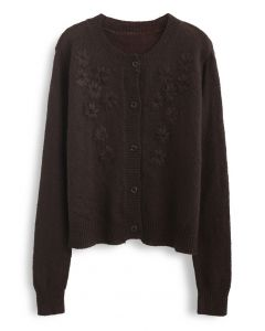 Delicate Stitch Flower Knit Cardigan in Brown