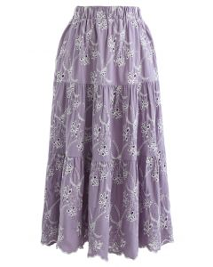 Embroidered Flowers Midi Skirt in Lilac