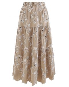 Embroidered Flowers Midi Skirt in Tan
