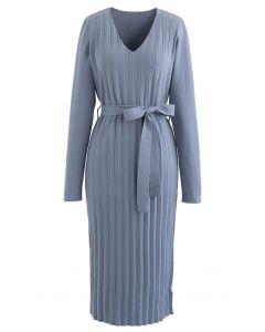 V-Neck Self-Tied Bowknot Knit Dress in Blue