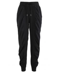 Drawstring Waist Ruched Detail Joggers in Black