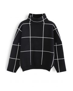 Grid Turtleneck Sweater in Black