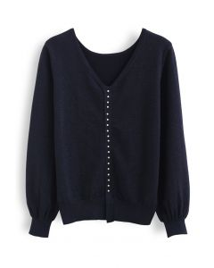 Pearl Trim Shimmer Knit Top in Navy