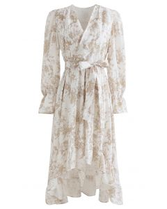 Floral Wrap Bowknot Waterfall Hem Dress in Sand