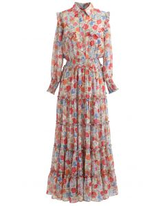 Wild Bloom Buttoned Semi-Sheer Maxi Dress