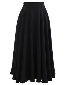 Solid Color Elastic Waist Flare Midi Skirt in Black