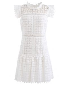 Full of Heart Crochet Sleeveless Dress in White