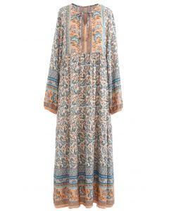 V-Neck Floral Printed Boho Maxi Dress