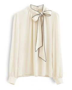 Seamed Edge Bowknot Textured Satin Top in Cream