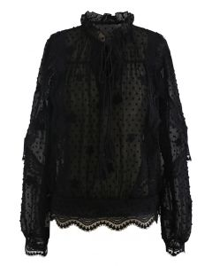 Crochet Wavy Flock Dot Tassel Organza Top in Black