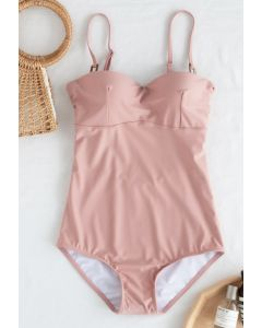 Bustier Open Back One-Piece Swimsuit in Pink