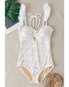 Full Lace Ruffle Halter One-Piece Swimsuit