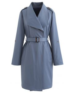 Belted Pocket Drape Neck Coat in Blue