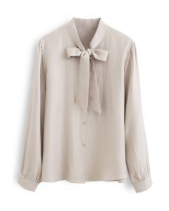 Shimmer Bowknot Button Down Shirt in Cream