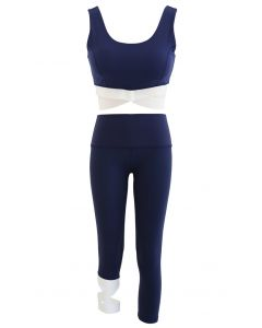 Contrast Band Sports Bra and Asymmetric Leggings Set