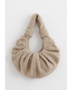 Teddy Shoulder Croissant Bag in Sand