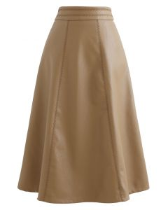 Stitch Faux Leather A-Line Midi Skirt in Caramel