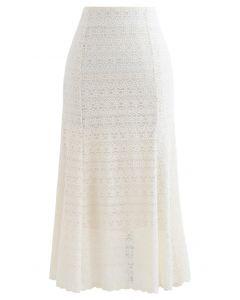 Floret Zigzag Lace Frill Hem Skirt in Cream