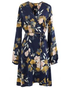 Navy Floral Printed Self-Tie Wrap Dress