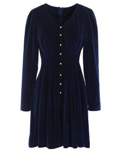 Button Trim V-Neck Velvet Dress in Navy