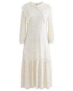 Crochet Collar Embroidered Ruffle Hem Mesh Dress