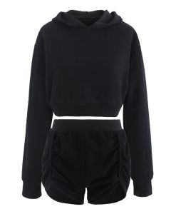 Cotton Blend Crop Hoodie and Shorts Set in Black