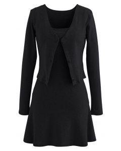 Cotton Blend V-Neck Button Twinset Dress in Black