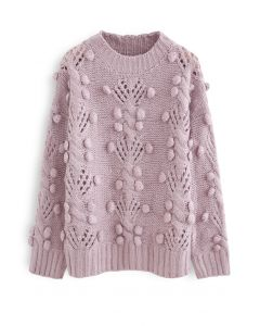 Cable Pom-Pom Eyelet Knit Sweater in Lilac