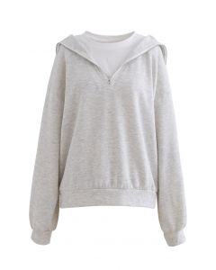 Zipper Front Spliced Sweatshirt in Light Grey