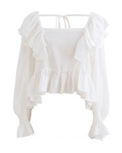 Square Neck Ruffle Crop Top in White