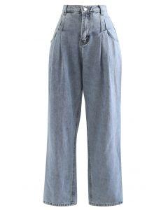 Pleats Pockets High-Waisted Soft Jeans
