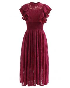 Tiered Ruffle Sleeveless Midi Lace Dress in Wine