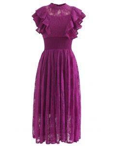 Tiered Ruffle Sleeveless Midi Lace Dress in Magenta