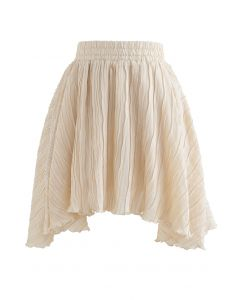 Ripple Embossed Double Layers Skorts in Cream