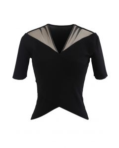 Cross Front Mesh Shoulder Knit Top in Black