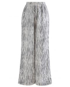 Zigzag Snake Print Wide-Leg Lounge Pants in Smoke
