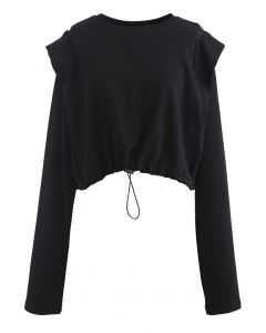 Adjustable Oversized Crop Sweatshirt in Black