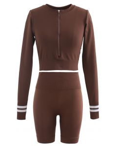 Zip Front Cropped Sports Top and Legging Shorts Set in Brown
